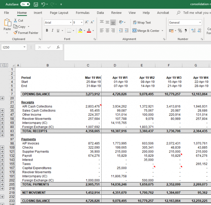 Improved excel export
